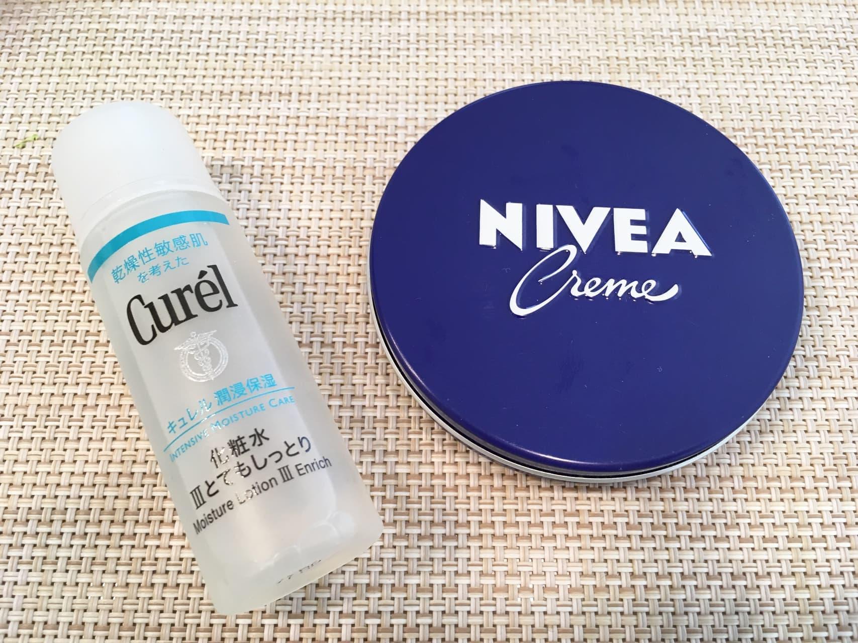 化粧水+ニベア